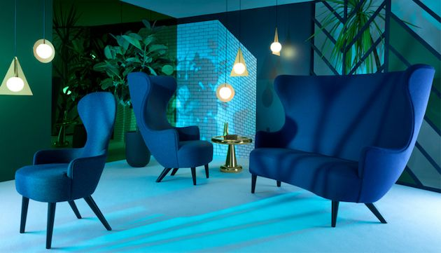 Luxurious high back blue sofa designed by Tom Dixon that will make a statement in any space! SEE MORE: http://losangeleshomes.eu/luxury-homes-2/designer-sofa-ideas-stylish-living-room-set/