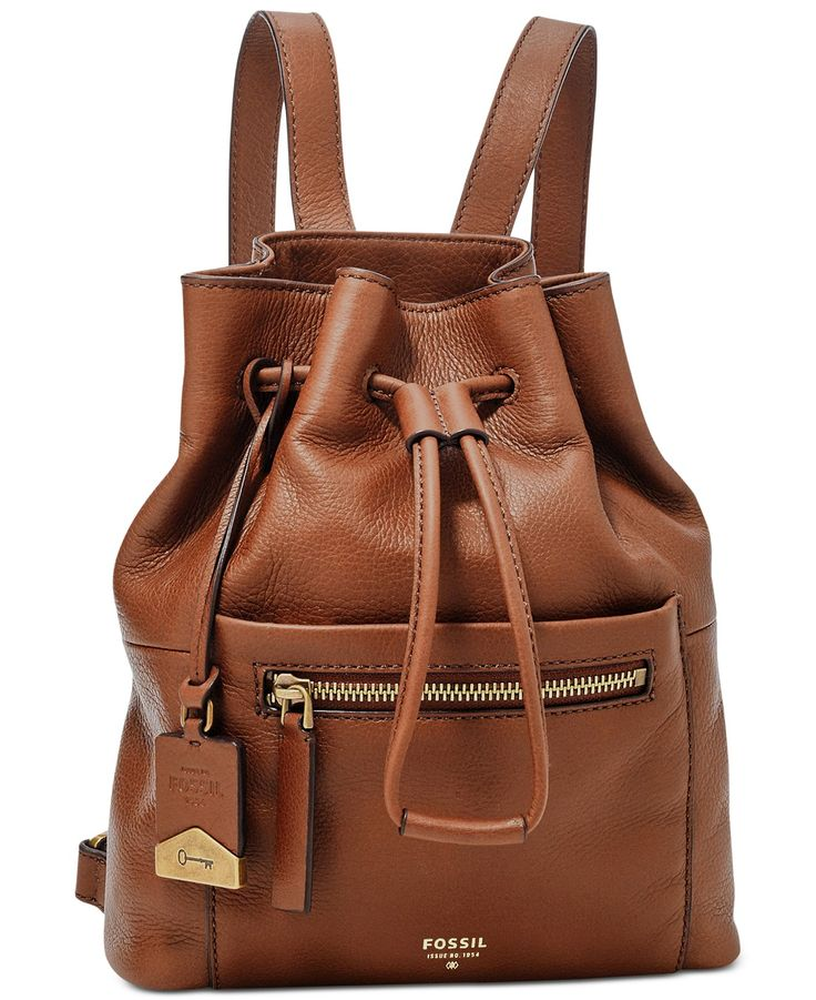 Fossil Vickery Leather Drawstring Backpack - Backpacks - Handbags & Accessories - Macy's