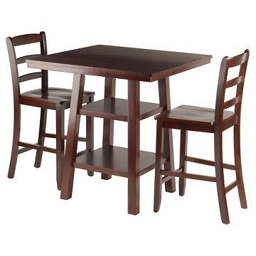 3 Piece Orlando Set 2 Shelves High Table With Ladder Back Counter Stools Wood Walnut