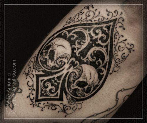 Tattoo by Mike Amanita: Tattoos Ink, Tattoo Bodyart, Art Tats, Heart Tattoo, Piercing, Body Art, Tattoo Skulls Bones, Spade, Awesome Tattoos