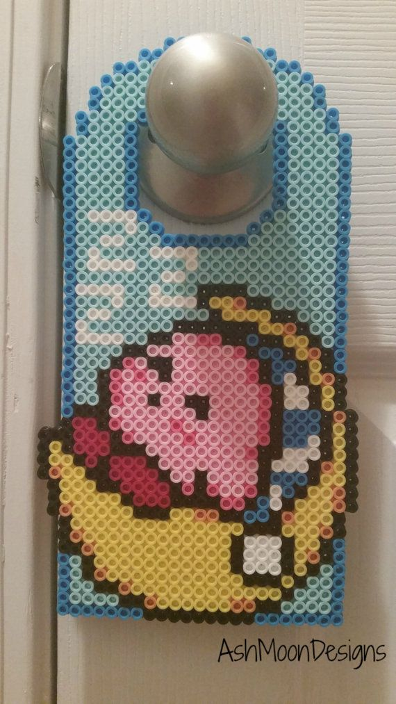 Sleeping Kirby Perler Bead Door Hanger by AshMoonDesigns on Etsy