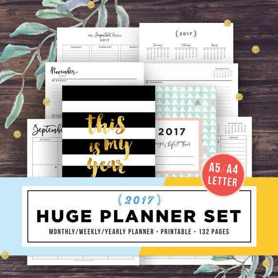 Afdrukbare planner, Agenda 2017, 2017-Planner worden ingevoegd, afdrukbare Planner 2017, wekelijks, jaarlijks Planner, A5, Letter, maandelijkse academische kalender