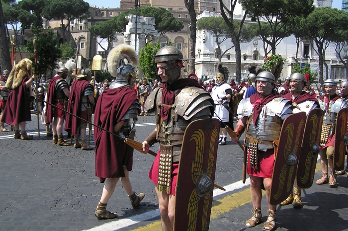 Romans during the celebration of the anniversary of the birth of Rome April the 21st in Rome