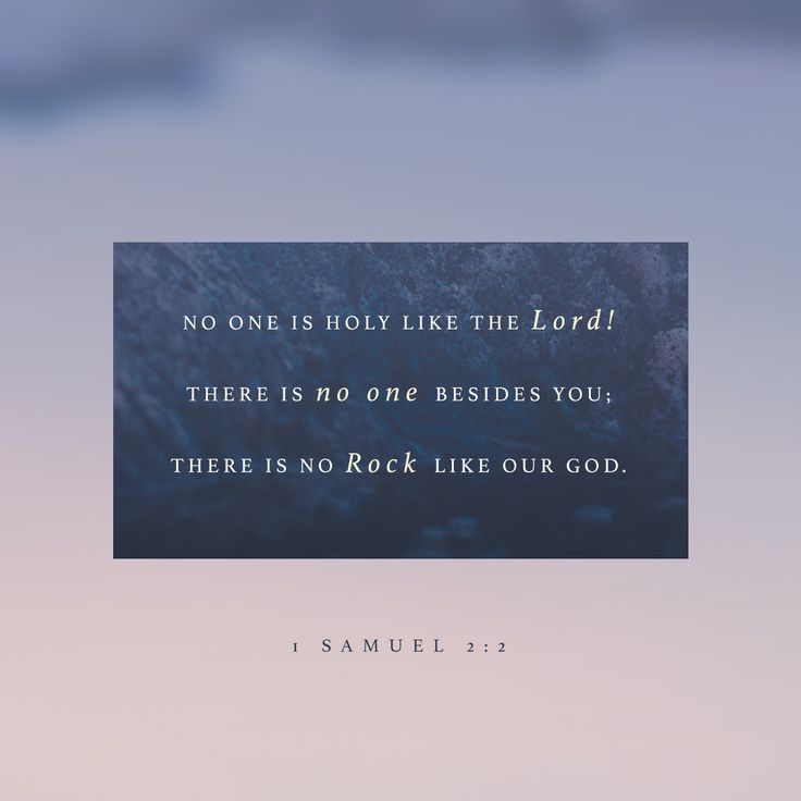 """""""There is none holy as the Lord: for there is none beside thee: neither is there any rock like our God."""" 1 Samuel 2:2 KJVhttp://bible.com/1/1sa.2.2.kjv"""