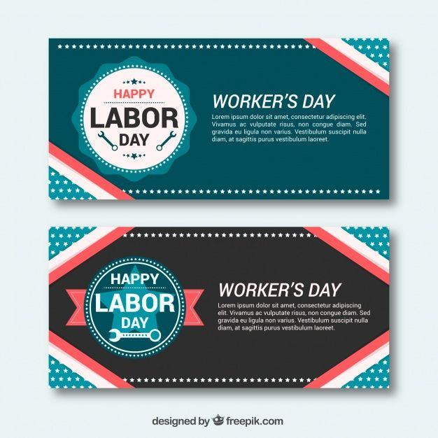 Cute retro labor day banners in flat design #Free #Vector  #Banner #Vintage #Design #Retro #Banners #Cute #Celebration #Happy #Work #Holiday #Happyholidays #Flat #Job #Worker #Usa #America #Vintagebanner #Labor #Day #Laborday