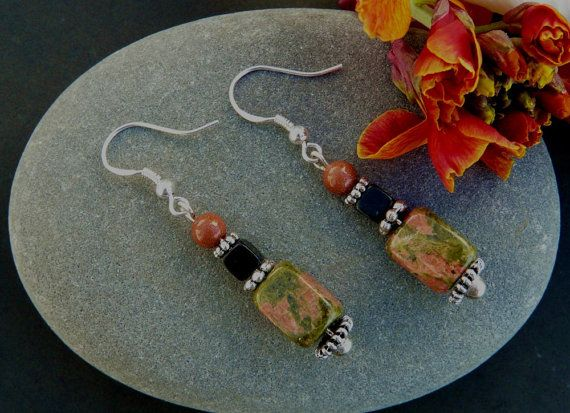 Unakite Obsidian and Goldstone Dangle Earrings by TheCrystalCavern