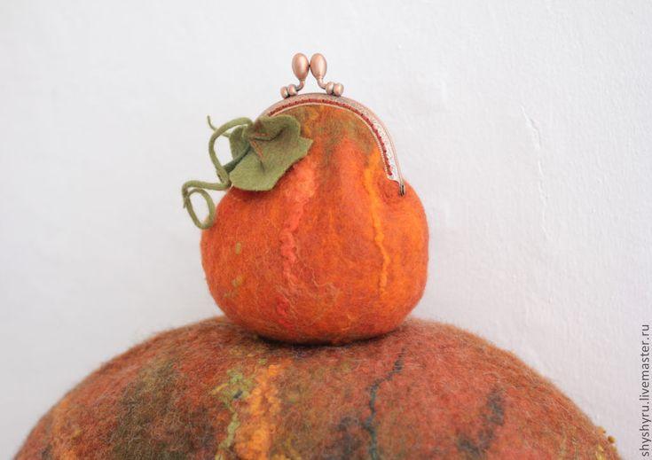 Купить Оранжевая валяная тыква, кошелек для разных мелочей - рыжий, сумочка для телефона, подарок девушке