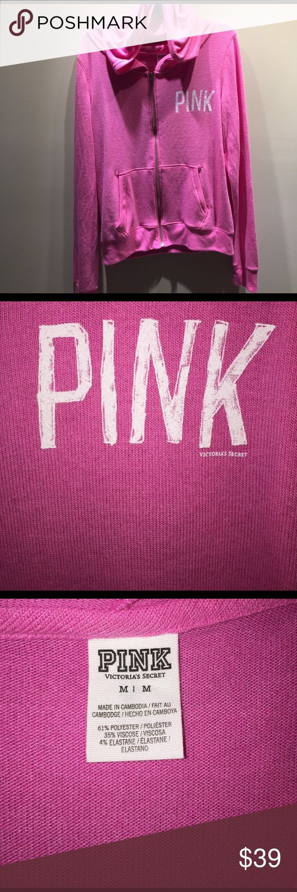 New in package size Medium VS PINK zip up hoodie New in package size Medium VS PINK zip up hoodie. Comes from a smoke free home and ships in one business day, thank you!!! PINK Victoria's Secret Tops Sweatshirts & Hoodies