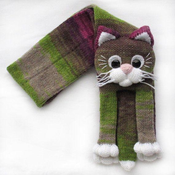 Knitted cat scarfKnitted kids scarfAnimal by NPhandmadeCreations
