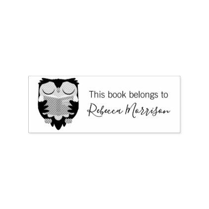 Custom Cute Owl Cartoon This Book Belongs To Rubber Stamp - calligraphy gifts custom personalize diy create your own
