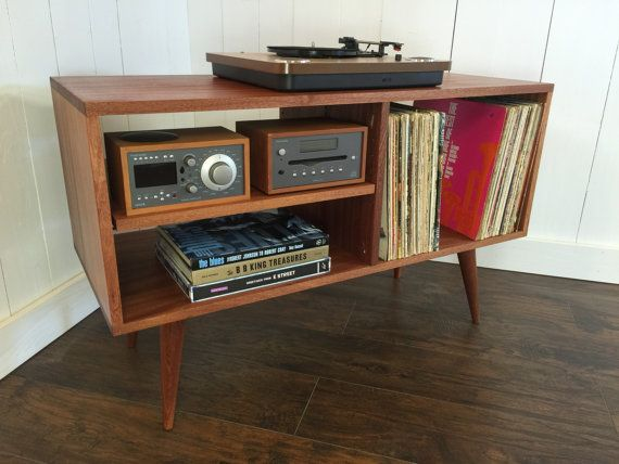 New mid century modern record player console, stereo cabinet with LP album…