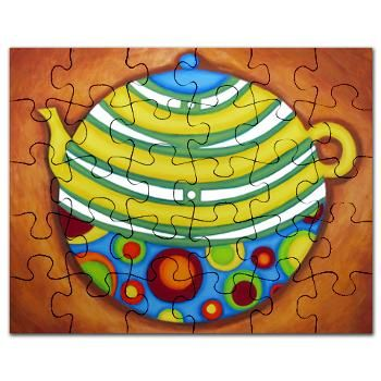 A bright and colorful yellow teapot art print puzzle, originally painted in watercolor and acrylic. #cafepress #teapot