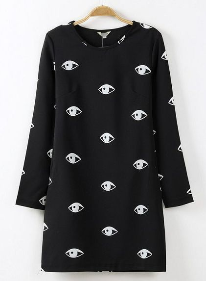 Black Long Sleeve Eyes Print Straight Dress - Sheinside.com