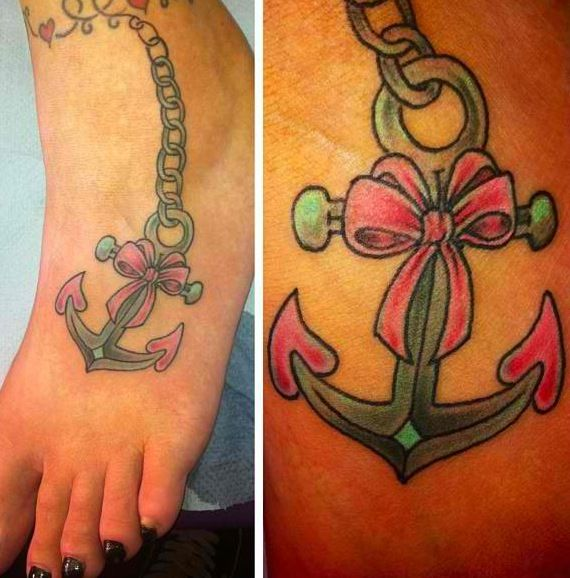 Foot anchor bow tattoo
