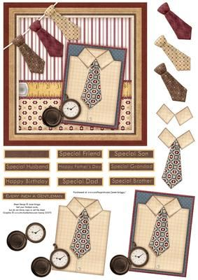 EVERY INCH A GENTLEMAN Card Topper Decoupage on Craftsuprint designed by Janet Briggs - Stylish card topper with 3d step by step decoupage for a variety of male occasions, birthday, Father's Day etc.Features ties and shirt.Several sentiment tags, including one blank. The others read, Every Inch a GentlemanHappy BirthdayHappy Father's DaySpecial Husband, Friend, Dad, Son, Grandad, Brother - Now available for download!
