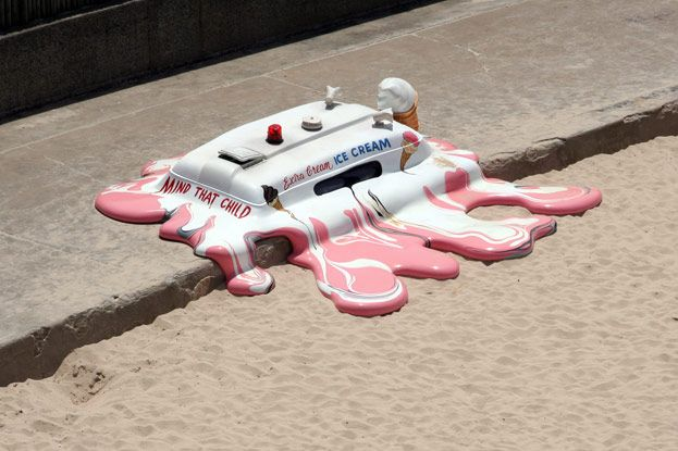 The Glue SocietyCream Trucks, Late Storms, Street Art, Funny, Melted Ice, Ice Cream, Icecream, Streetart, Glue Society