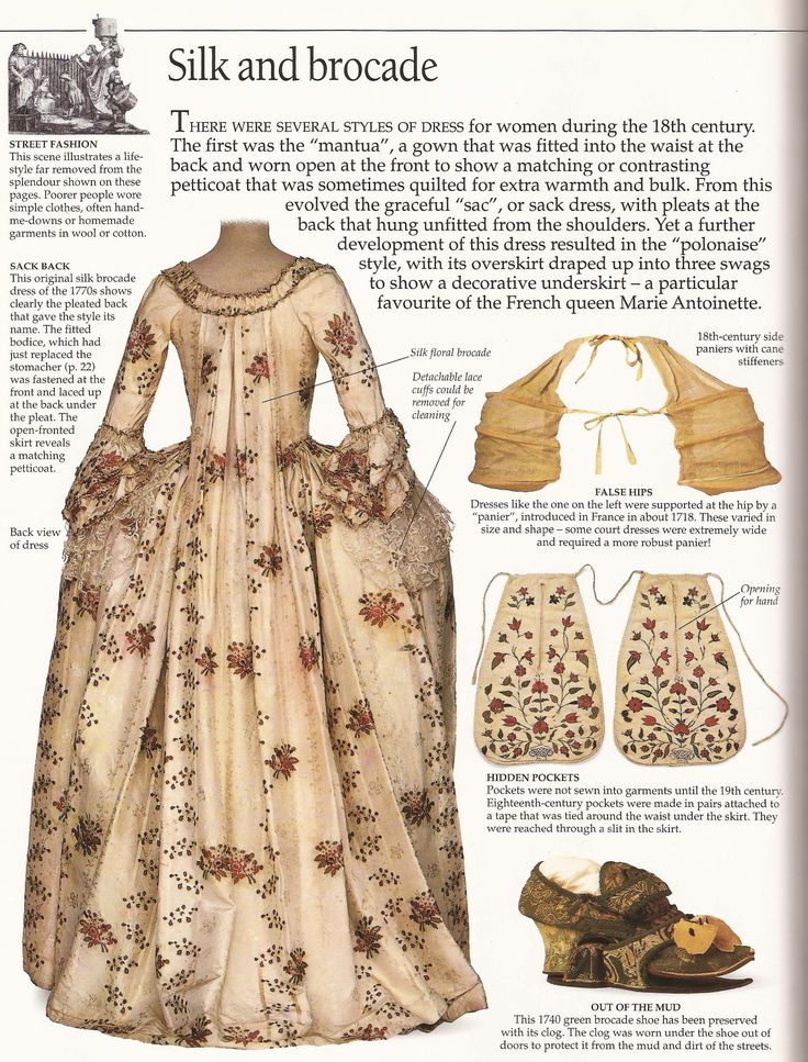:: 1770's Robe à la française (Saque-back Gown), an Overview - The DK Costume book by L. Rowland-Warne ::