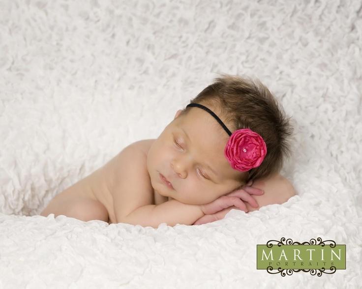 Small Hot Pink Fabric Flower on Skinny by fabflowerheadbands, $9.75