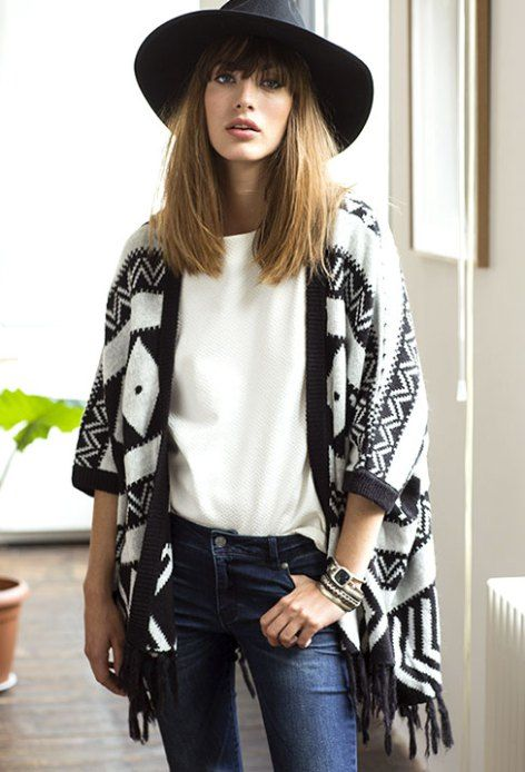 Amazing ethnic poncho for fall #french #style