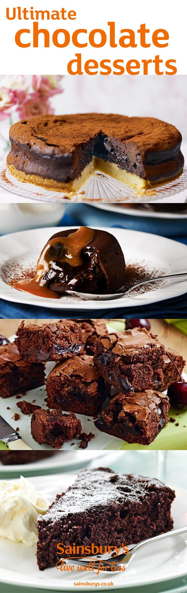 Make one of these show-stopping desserts for friends and family. We've got lots of tasty chocolate recipes including chocolate beetroot brownies, molten chocolate cakes, vegan espresso martini chocolate mousse, gluten-free vegan chocolate brownies, chocolate souffles,  chocolate cheesecake and more. A great date-night treat.