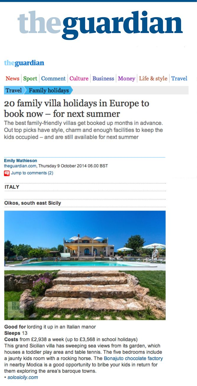 Oikos is one of the 20 top family villas in Europe for summer 2015 via The Guardian