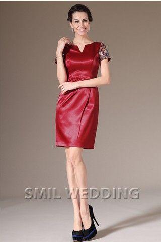 korte rode jurk satijn Korte Mouw pailletten Knie-Lengte GJ2014377