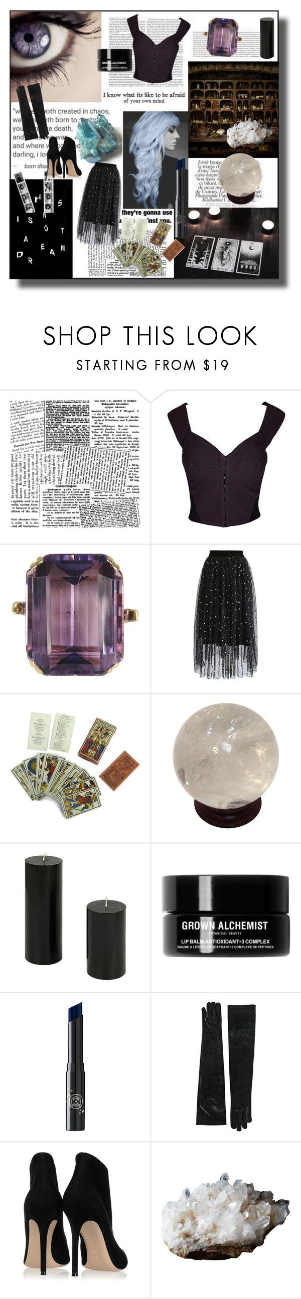 """""""What is your question for the universe?"""" by feralkind ❤ liked on Polyvore featuring xO Design, Awake, Dolce&Gabbana, Chicwish, Zara, Grown Alchemist, Rituel de Fille and Gianvito Rossi"""
