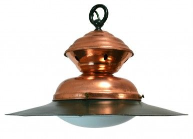 2 Large Restored Industrial Copper Ceiling Hanging Lights, Vintage English, Mid 20th Century