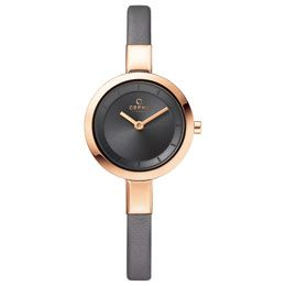 OBAKU Siv - pebble // Rose gold stainless steel watch with a grey leather strap