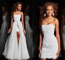 Novo Design de Alta Baixa Curto Strapless Pure White Wedding Dress vestido de Noiva Com Destacável Saia removível de cristal rendas Paetês alishoppbrasil