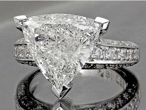 2 Carat Trillion Cut Diamond Engagement Wedding Ring 18k White Gold Certified