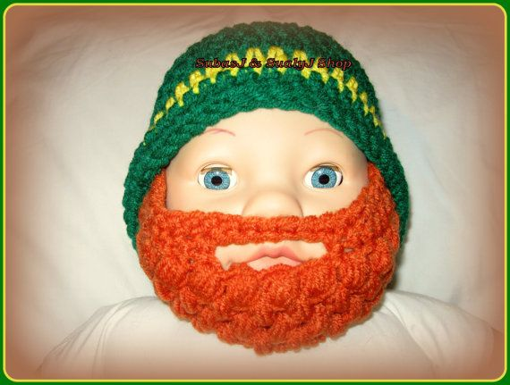 THIS WOULD BE A HILARIOUS PICTURE! SO WANT THIS. Crocheted Baby  Beard Hat  Irish/San Patrick colors by BuzzyHook, $16.00