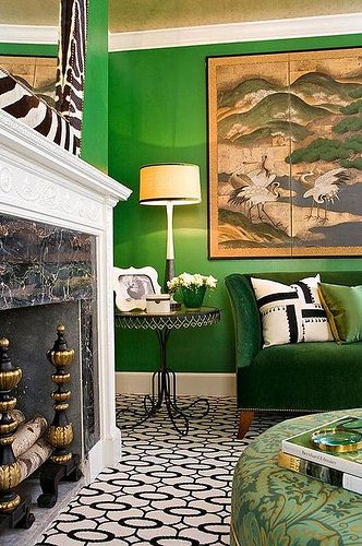 The first time I ever loved a room designed around Kelly green walls...