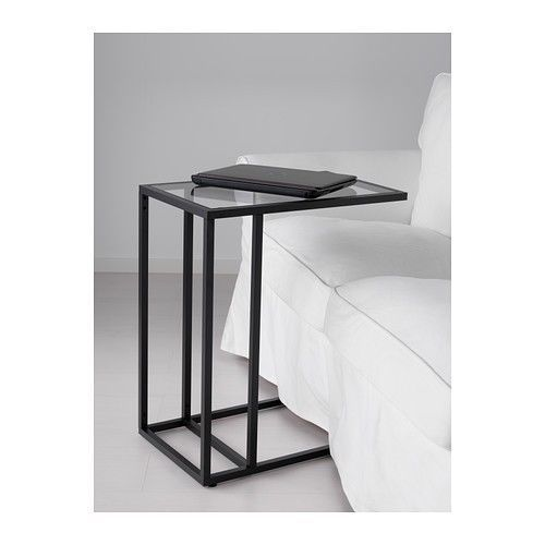 Laptop Stand Side Coffee Table Black Brown Frame Glass