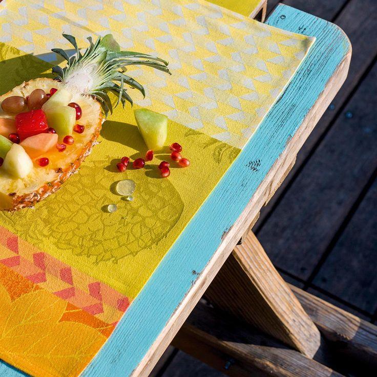 Set de table d'inspiration ananas chez le Jacquard Français #ananas