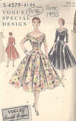 1955 Vintage Sewing Pattern B34 DRESS (1796)