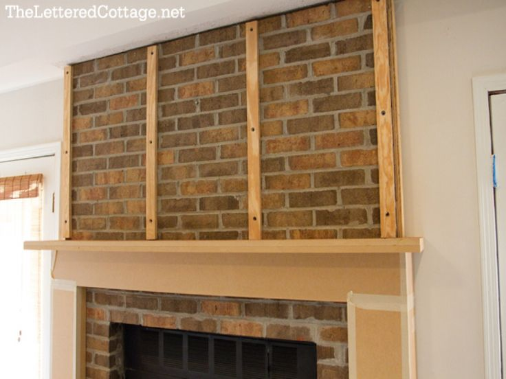 Fireplace mantel cover, brick wall fireplace makeover fireplace ...