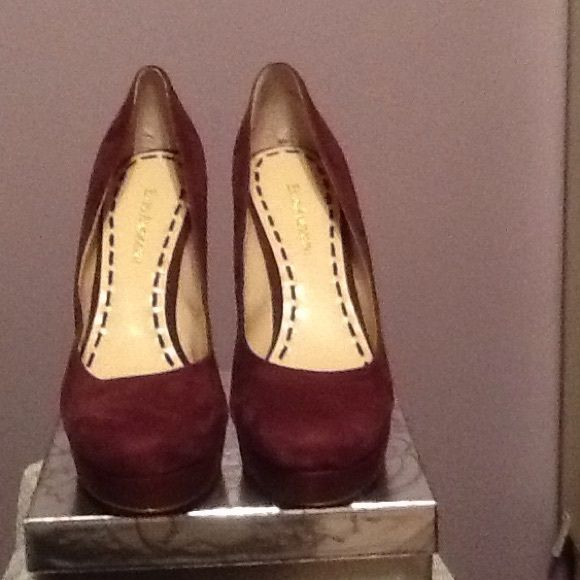 SHOES  MAHOGANY ROUND TOE SUEDE PUMPS Beautiful suede shoes very good condition Enzo Angiolini Shoes