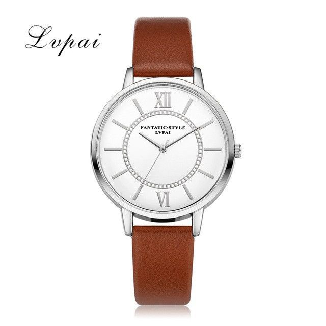 6822f806c32 Women Silver Dress Watch Classic Vintage Leather Simple Style Lvpai  Bracelet Quartz Electronic Watch Clock Ladies. Relógios FemininosRelógios  ...