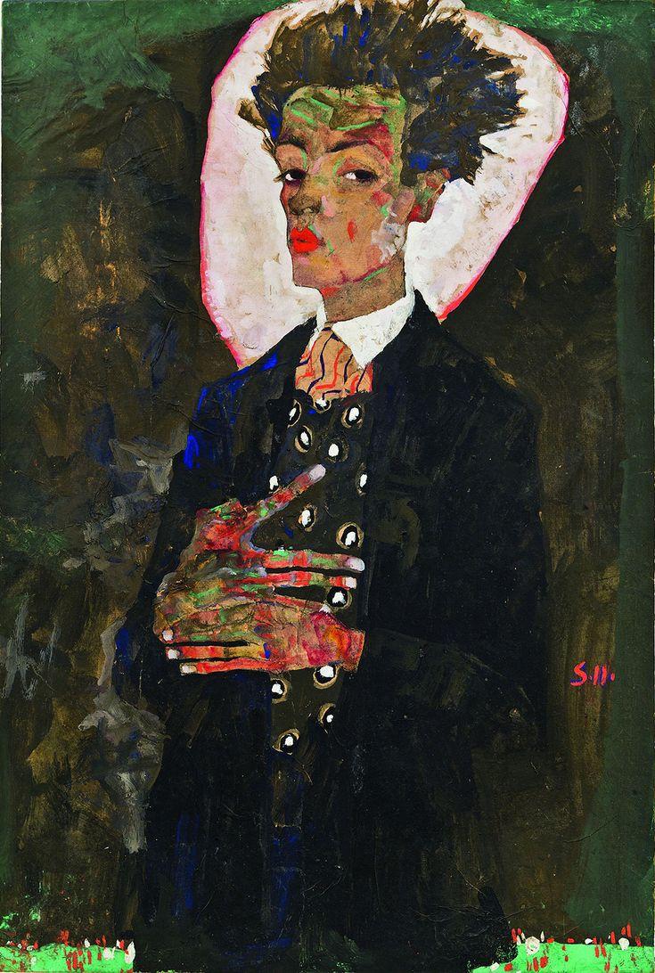 """Egon Schiele, """"Autorretrato con el pavo real Chaleco, Standing"""" (1911), gouache, acuarela, lápiz de color y negro sobre papel, montado a bordo (colección de Ernst Ploil, Viena, todas las imágenes cortesía de la Neue Galerie, de Nueva York)"""