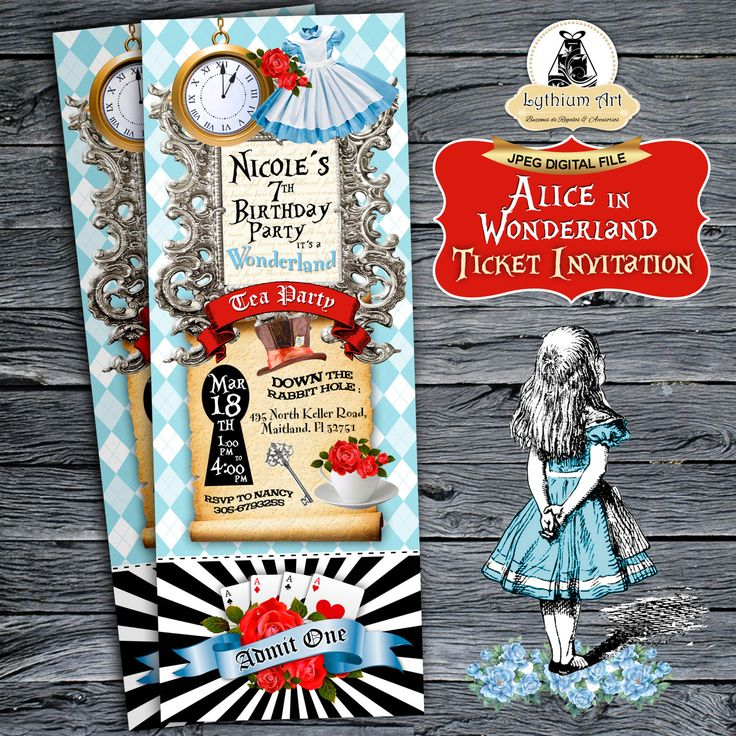 Alice in Wonderland Ticket Invitation - Alice in Wonderland Invitation - Printable Ticket Invitation - Tea Party - Wonderland Invitation de LythiumArt en Etsy