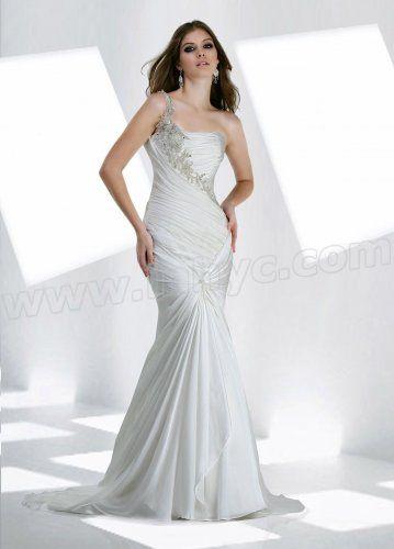 Chiffon One-shoulder Ruffled Bodice Mermaid Wedding Dress