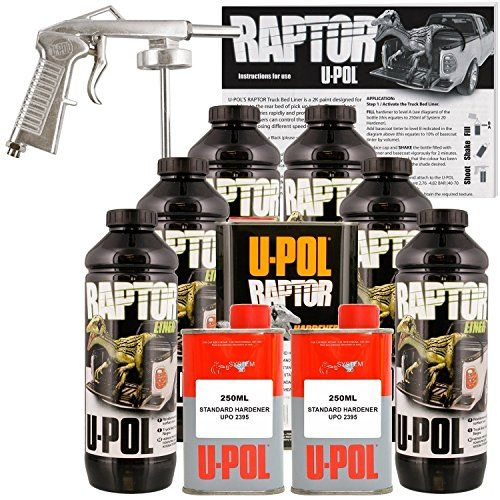 U-POL Raptor Black Urethane Spray-On Truck Bed Liner Kit w/ FREE Spray Gun, 6 Liters * Details can be found by clicking on the image.