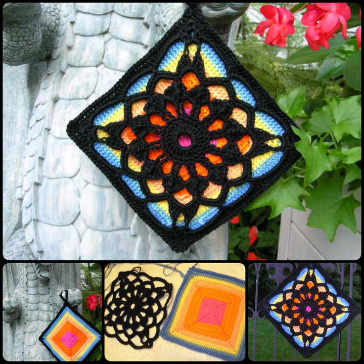 Crochet Fantastic Square Afghan Block is made in beautiful, bright colors and combined with the Locutus pattern done in black. It creates a stunning crochet piece which can be then used to make a wonderful blanket. Click below link for free pattern… More pattern @ Cool Creativity Locutus Locutus More Ideas@ Cool Creativity Stained Glass Window Crochet Squares