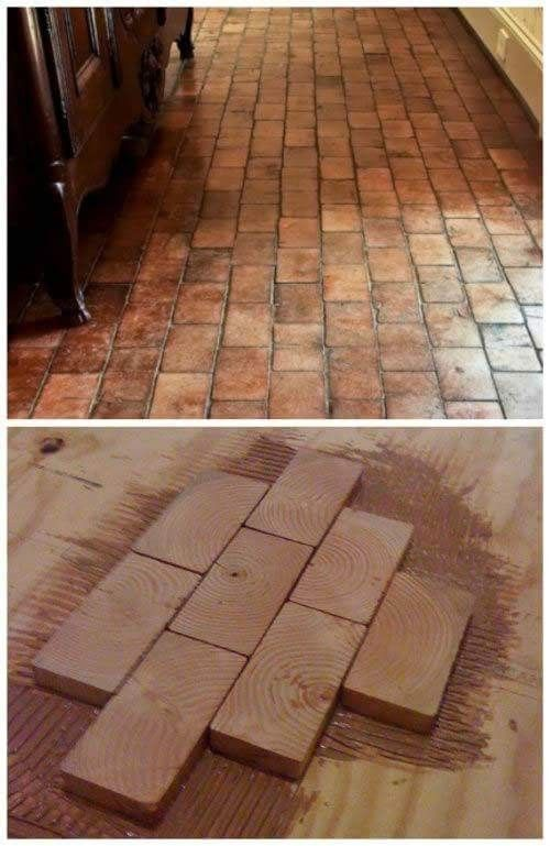 Wood Block Flooring It Looks Like Real Brick But Much Easier To