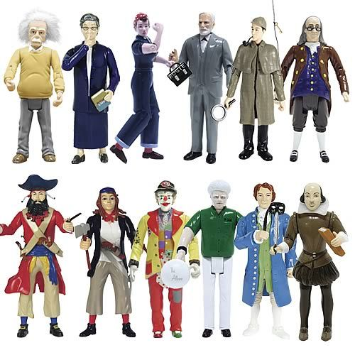 Albert Einstein, Rosie the Riviter, Librarian, Sigmund Freud, Sherlock Holmes, Ben Franklin, Blackbeard the Pirate, Anne Bonny Pirate, J.P. Patches, Albino Bowler, Cassanova, and William Shakespeare.