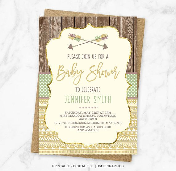 Tribal Baby Shower Invitation Boho Baby Shower Gender