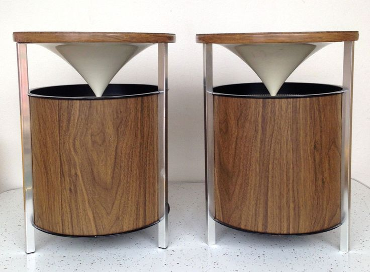 Vintage Mcm Speakers Round Zenith Cone Floor Speakers