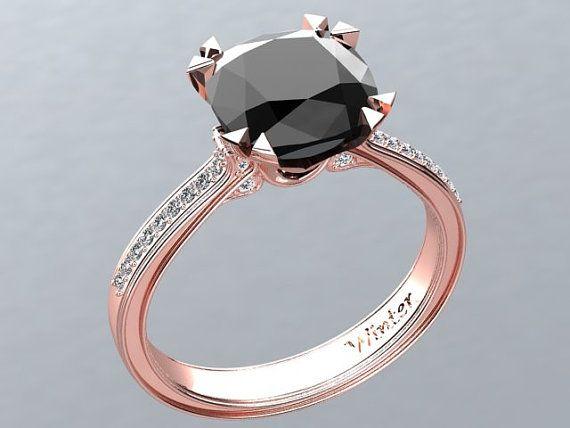Victorian inspired 14k Rose gold Engagement Ring Diamond Ring 2.65 ct VVS Black Diamond W26BK14R