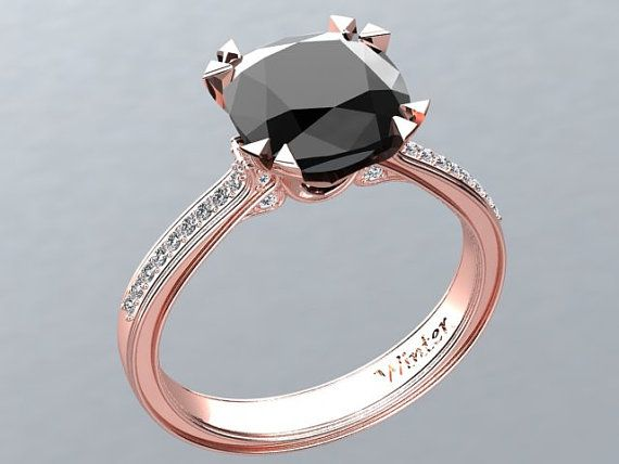 Victorian inspired 14k Rose gold Engagement Ring Diamond Ring 2.65 ct VVS Black Diamond W26BK14R